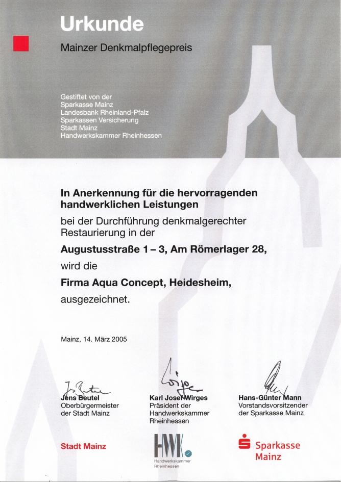 Auszeichnung Mainzer Denkmalpflegepreis 2005
