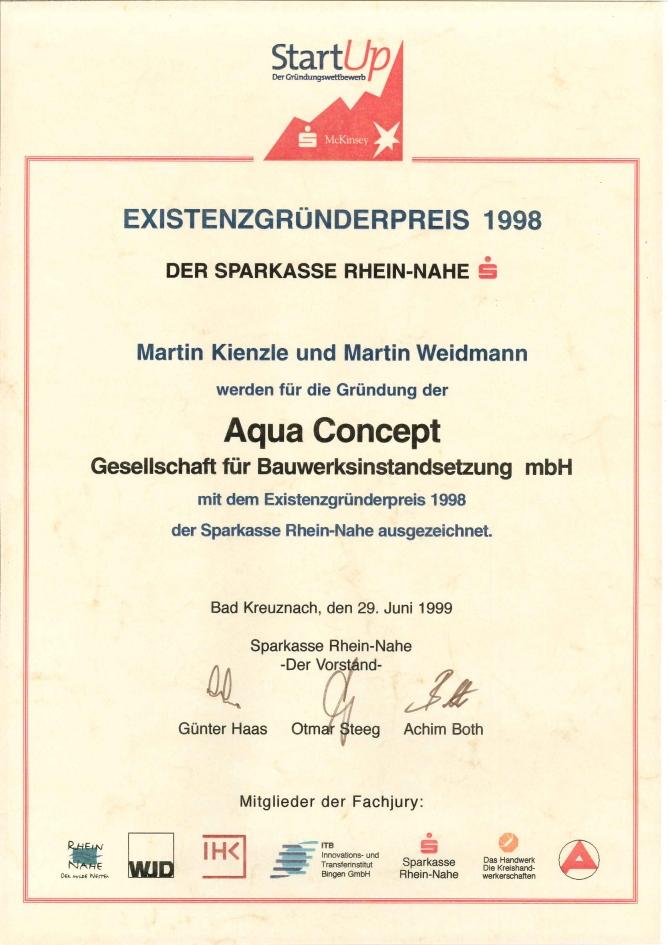 Auszeichnung Existenzgründerpreis 1998